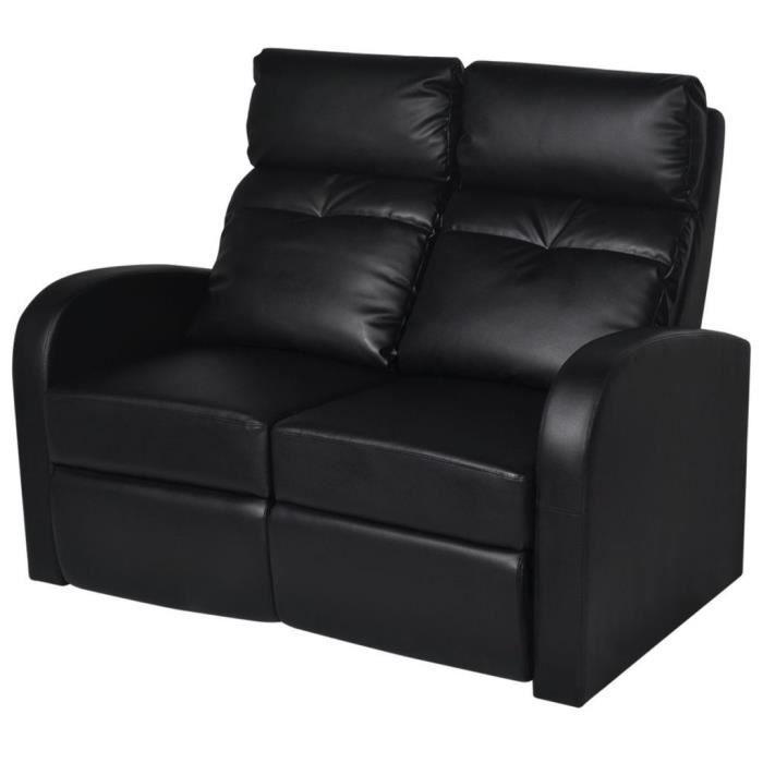 Fauteuil chaise siège lounge design club sofa salon inclinable à 2 places cuir synthétique noir 1102075/3