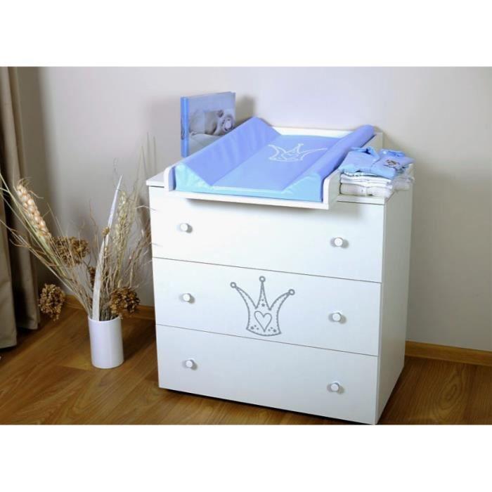 BB Commode à langer bébé enfant Table à langer + Matelas à langer amovible - 3 tiroirs Couronne bleu Prince