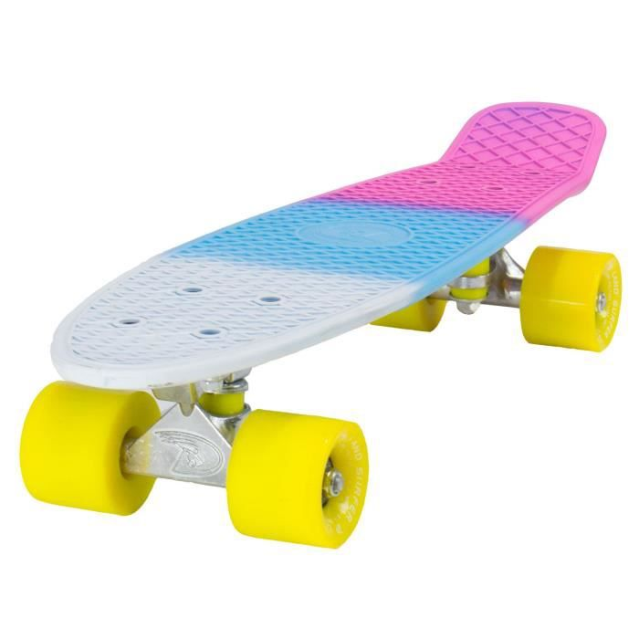 Skateboard LAND SURFER® Rétro Cruiser avec planche tricolore 56 cm - Roulements ABEC-7 - Roues de 59 mm en polyuréthane + sac de