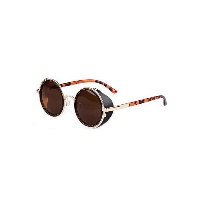 80's Lunettes de soleil de style vintage classique rond steampunk-Brun fonce avec bordure doree + Leopard