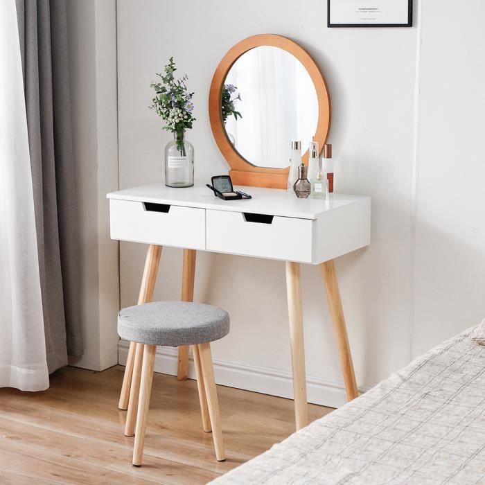 JEOBEST® Coiffeuse Moderne, Table de Maquillage L 80 x H 128 cm Miroir rond 2 Tiroir, Bois et blanc