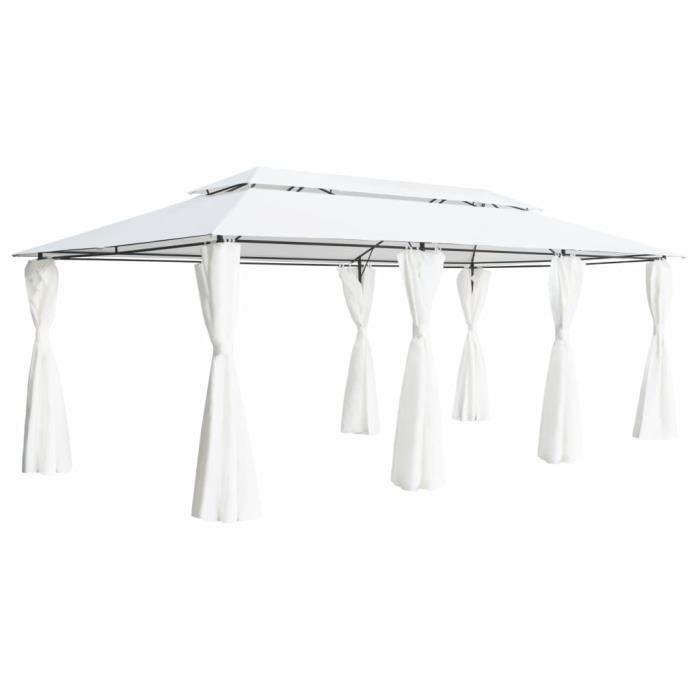 Magnifique -Tonnelle de Jardin Barnum - Belvédère avec rideaux 600x298x270 cm Blanc