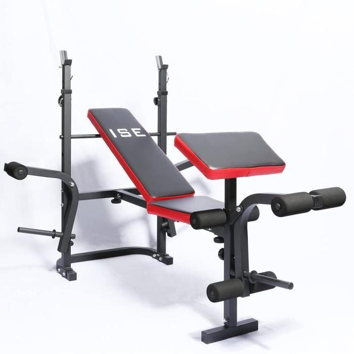 POIDS ISE Banc de Musculation Multifonction R&eacuteglable Pliable Inclinable Fitness pour Entrainement Complet SY-5430B232