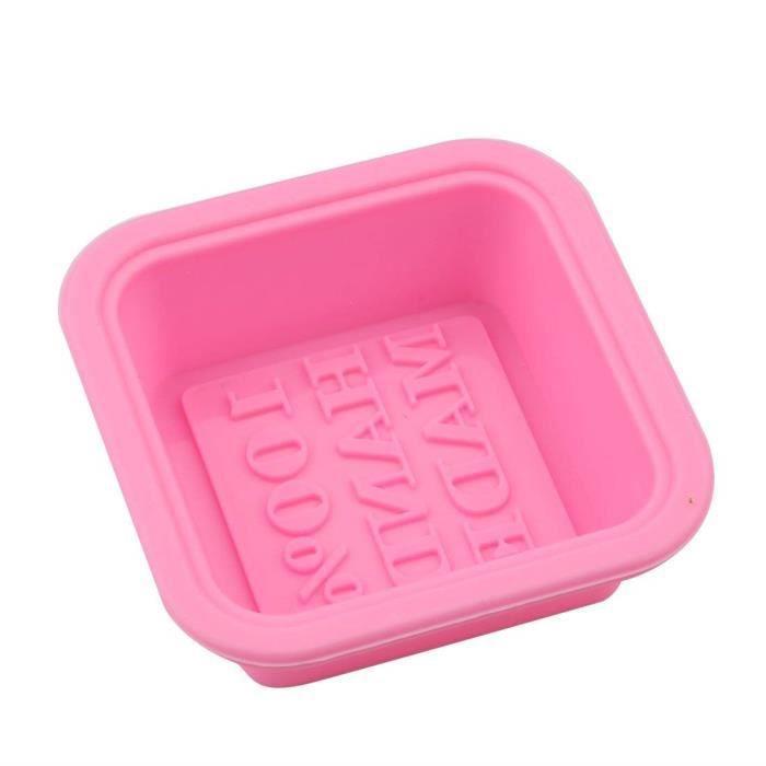 100% fait main savon moule multi usage Mots savon moule réutilisable carré Moule en silicone pour la cuisine rose