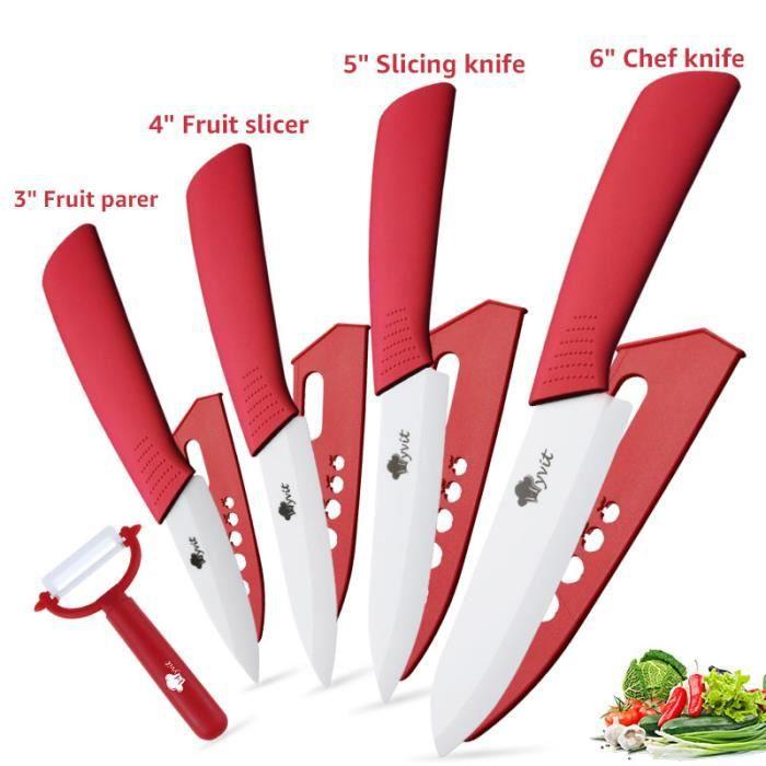 Couteau en céramique , Ensembles de couteaux de cuisine Couteaux chef pour Couper Fruits Légumes Viande 5pcs/Set rouge