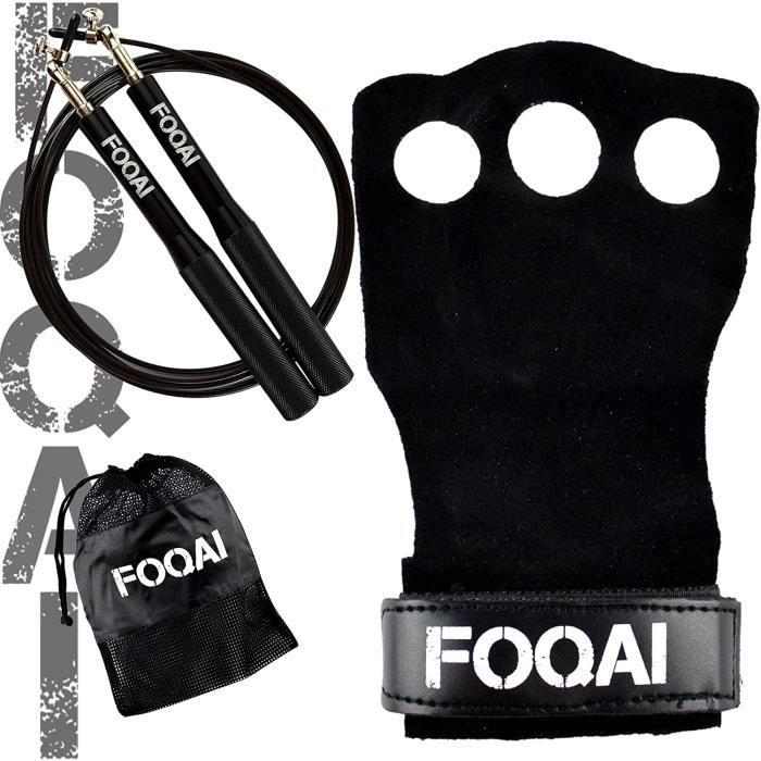 Pack manique crossfit cuir + corde à sauter 360° réglable + sac de transport OFFERT - Gant de musculation, gymnastique, haltérop67