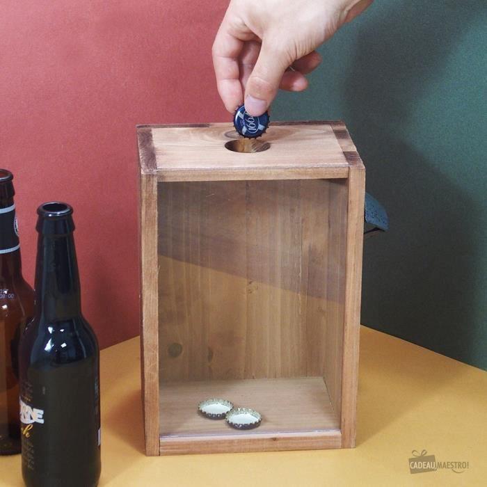 Boîte Collection Capsules Bières avec Décapsuleur - Cadeau Maestro Marron Bois
