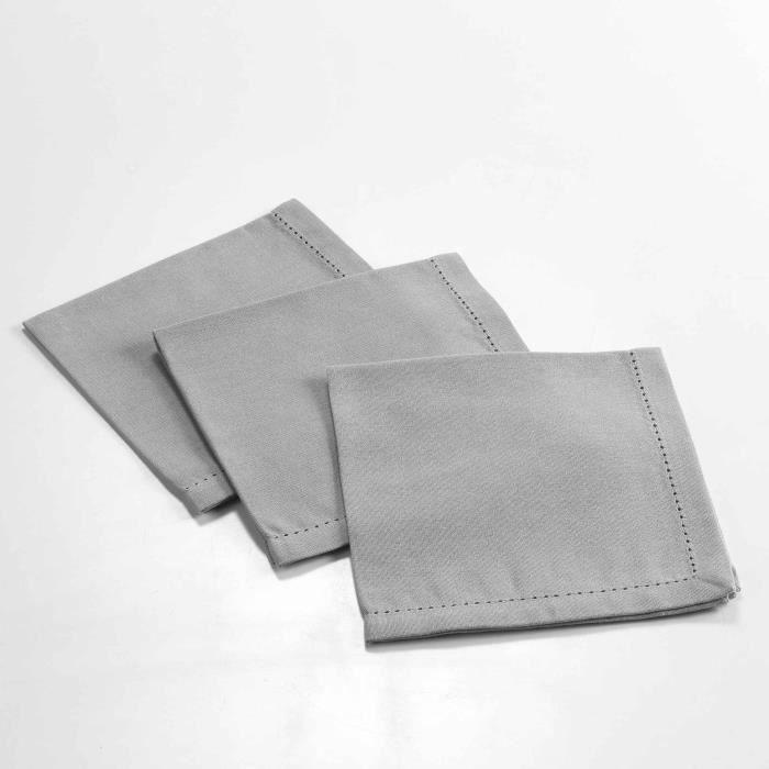 CDaffaires 3 serviettes de table 40 x 40 cm coton uni charline Gris