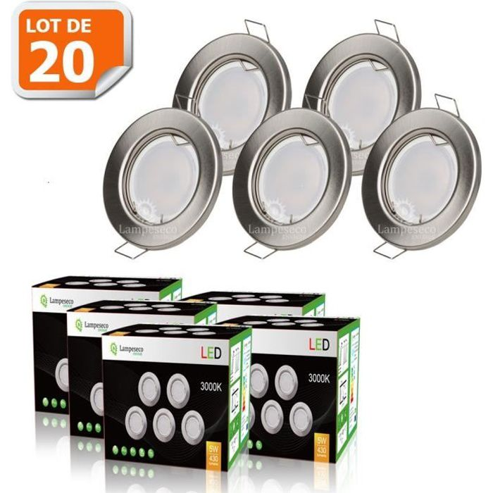 LOT DE 20 SPOT LED ENCASTRABLE COMPLETE RONDE FIXE ALU BROSSE eq. 50W BLANC CHAUD