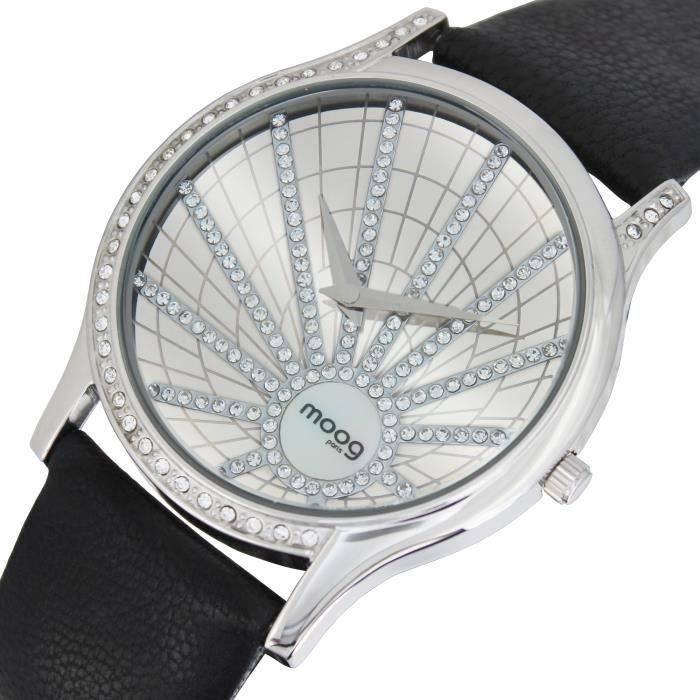 Montre Femme Moog Paris Eccentric avec Cadran Argenté, Eléments Swarovski, Bracelet Noir en Cuir Véritable - M45222-104