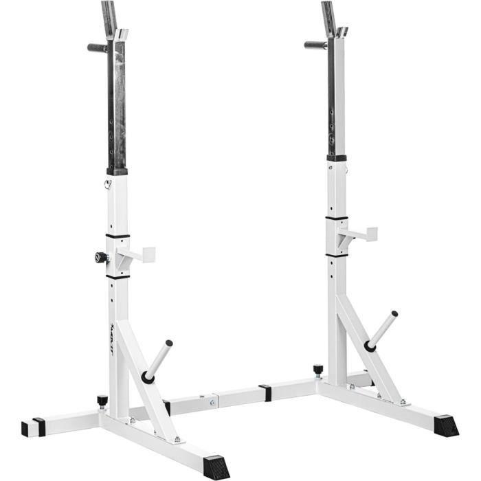 MOVIT® Rack à Squat Basic, ensemble de 2 supports d'haltères réglable, supports pour haltères de muscu, Home-Gym, couleur blanc
