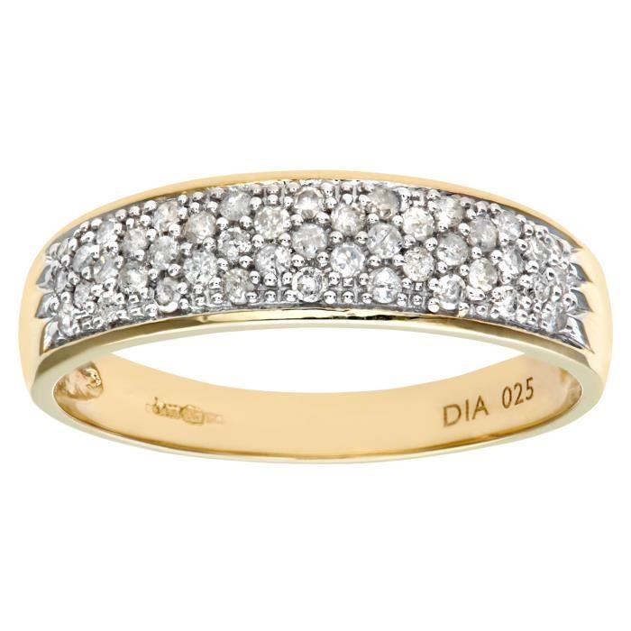 Revoni Bague alliance Diamant Or Jaune 375° Femme: Poids du diamant : 0.25 ct - CD-PR05247Y-P
