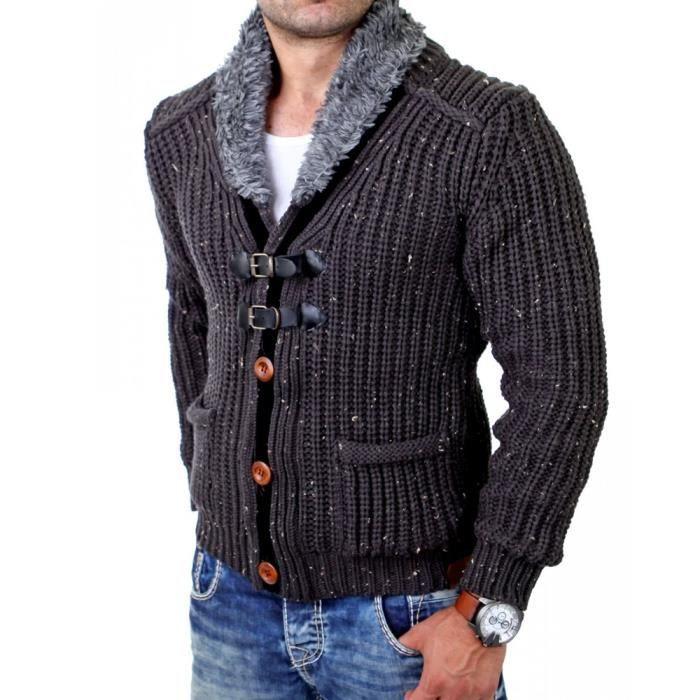 Cardigan veste pour homme Veste T418 gris fonce