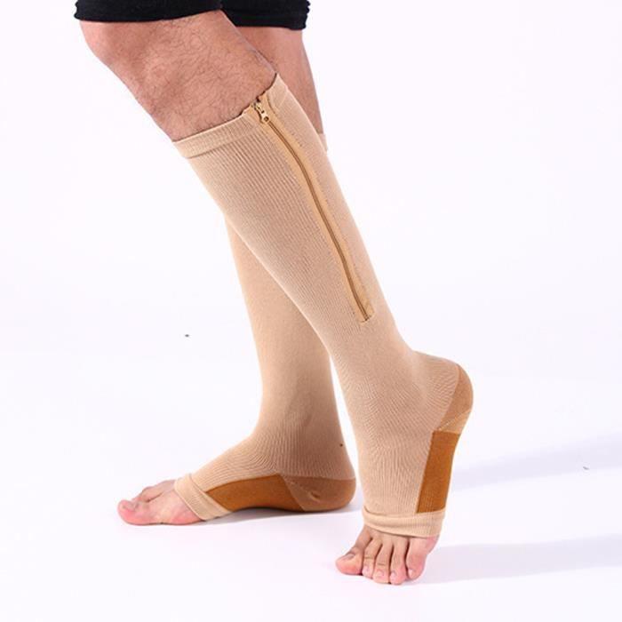 2pc sexe non comprimé chaussettes zip extensible jambes repose-orteil et genou chaussettes vente chaude pas cher