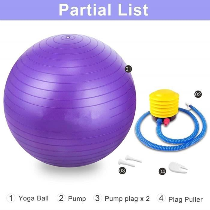 NEUFU Ballon de Gymnastique Avec Pompe Anti-éclatement épaissie PVC Fitness Balance Ball Violet 45CM