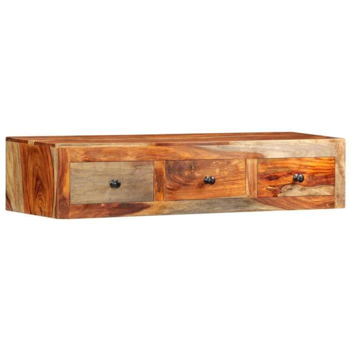 Table console extensible Table d'Appoint Table d'entrée contemporain murale 100x25x20 cm Bois de Sesham massif