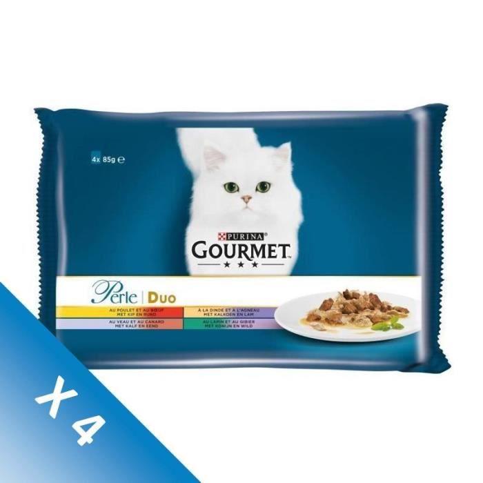 [LOT DE 4] GOURMET Perle Duo à la viande - Sachets repas - Pour chat adulte - 4 x 85 g