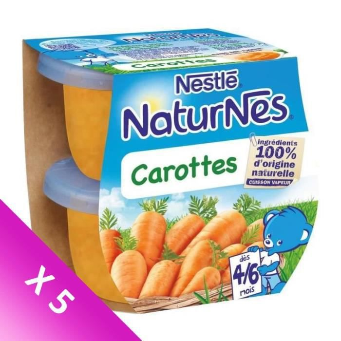 [LOT DE 5] NESTLÉ Naturnes Carottes - 2x130 g - Dès 4/6 mois