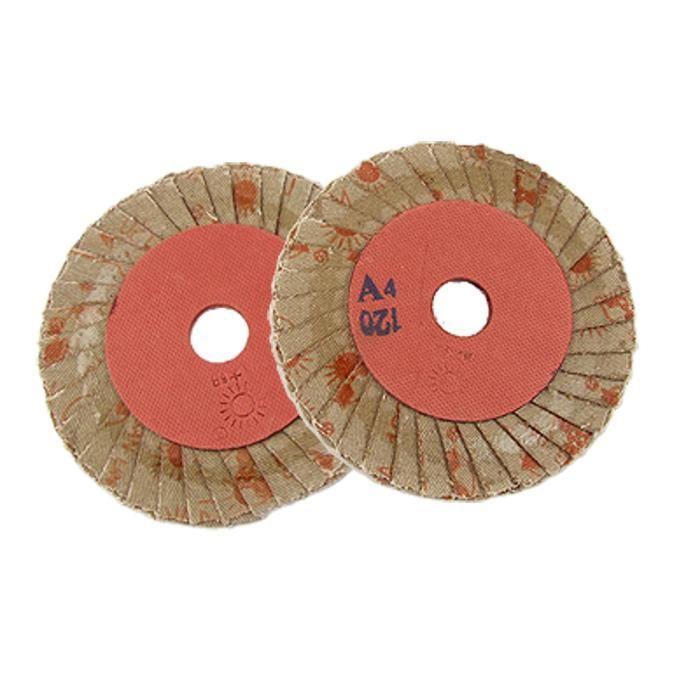 4 diamètre extérieur 120 #Disque abrasif à lamelles à polir Lot de 2