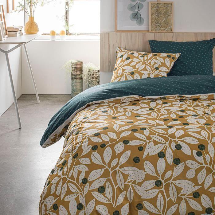 Parure de lit 2 personnes 220X240 Coton imprime jaune Floral SUNSHINE 5.21