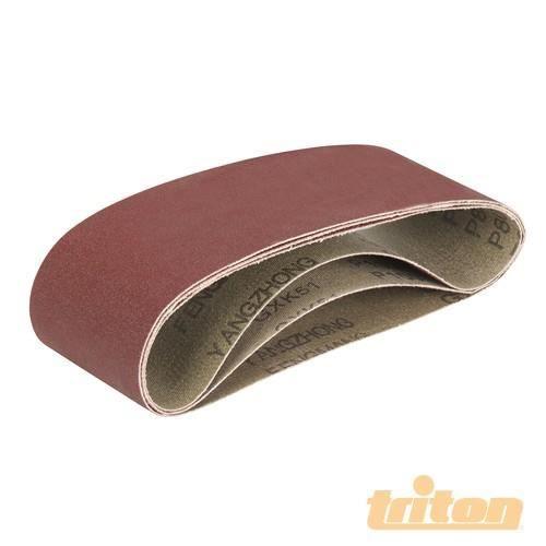 TRITON Lot de 3 feuilles abrasives pour la ponceuse à bande compacte Triton