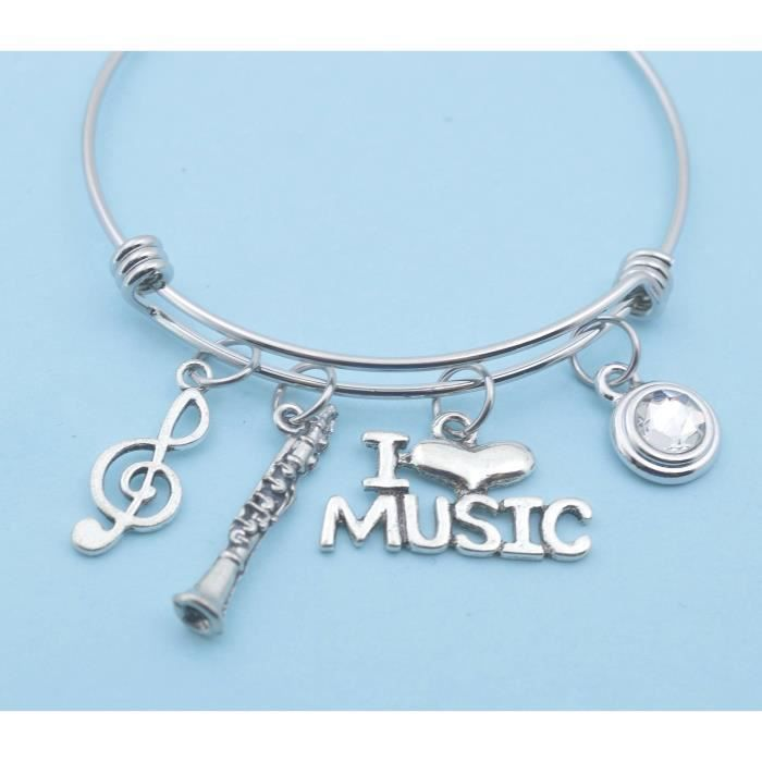 Acier inoxydable bracelet musique symbole infini bracelet femmes bijoux