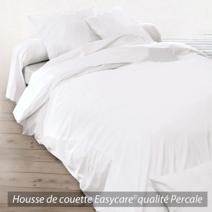 housse de couette coton percale 240x260 blanc achat vente housse de couette cdiscount. Black Bedroom Furniture Sets. Home Design Ideas