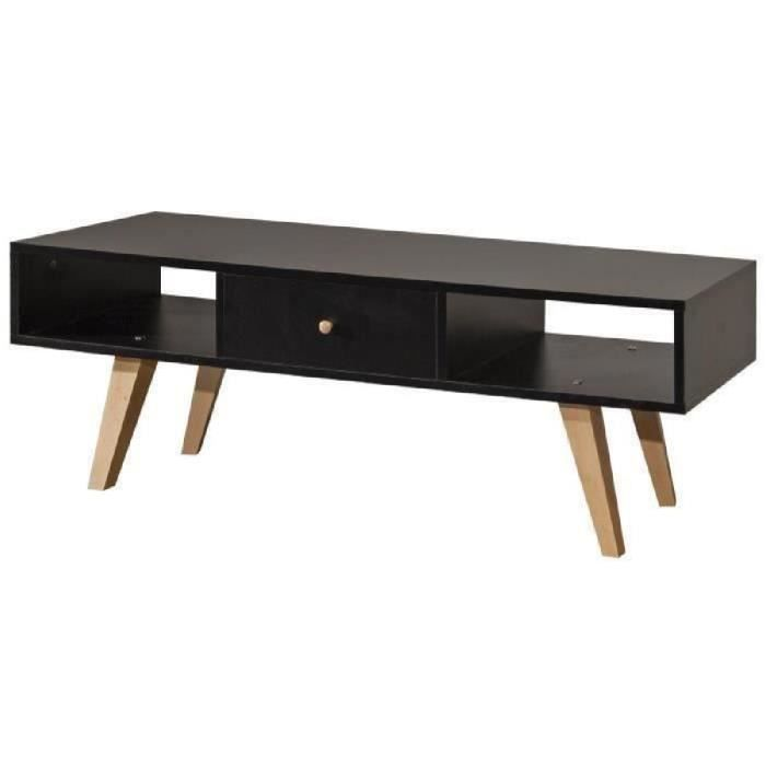 meuble tv noir et bois achat vente meuble tv noir et. Black Bedroom Furniture Sets. Home Design Ideas