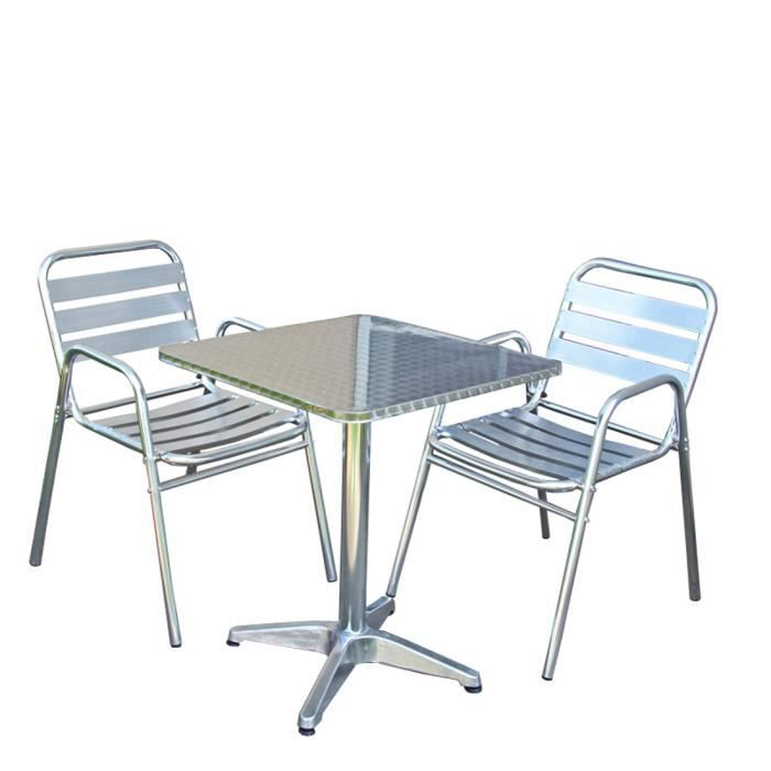 ensemble bistrot m28 aluminium table carr e 2 chaises. Black Bedroom Furniture Sets. Home Design Ideas