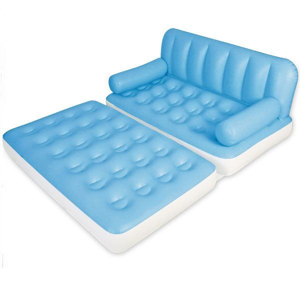 canap lit matelas gonflable bleu clair 5en1 achat. Black Bedroom Furniture Sets. Home Design Ideas