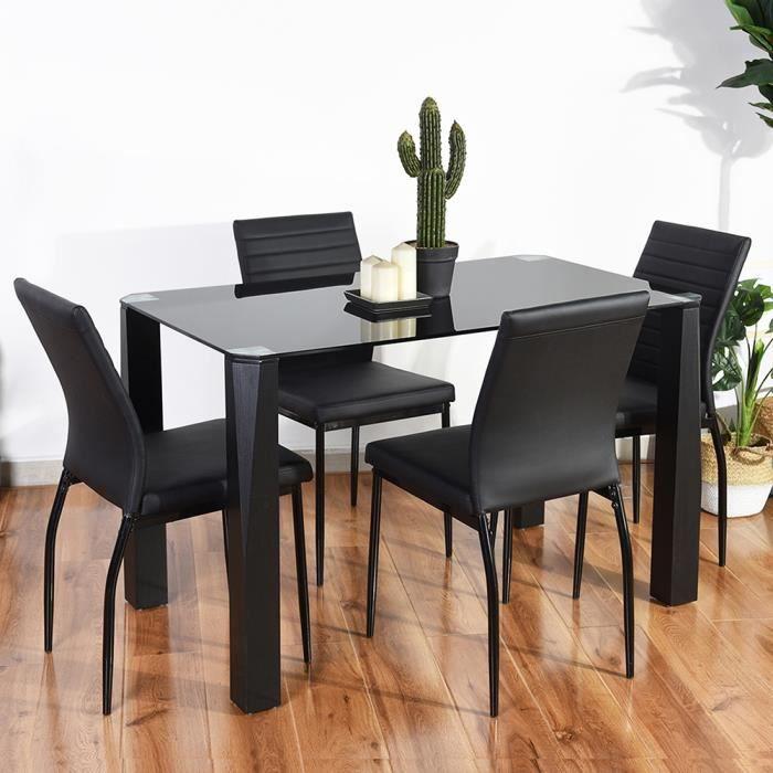 Furniturer Table Salle A Manger Rectangulaire Plateau Verre