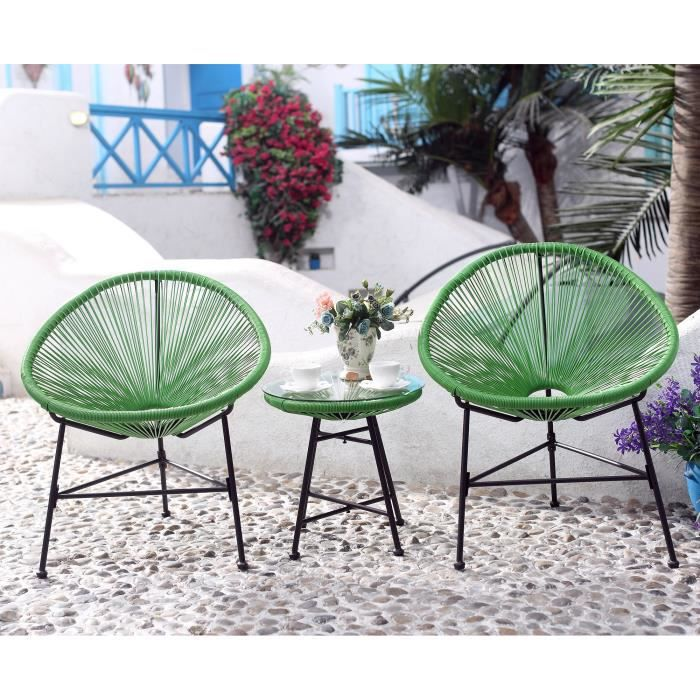 salon de jardin vert 2 fauteuils oeuf table basse achat vente salon de jardin palmero salon. Black Bedroom Furniture Sets. Home Design Ideas