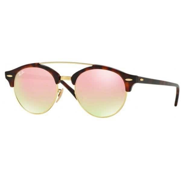 Lunettes de soleil Ray-Ban CLUBROUND Double Bridge Ecailles RB4346 RB4346  990 7O 51 19 Marron 50f77144e449