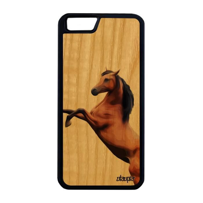 Coque iPhone 6 6S Plus bois silicone cheval poulai