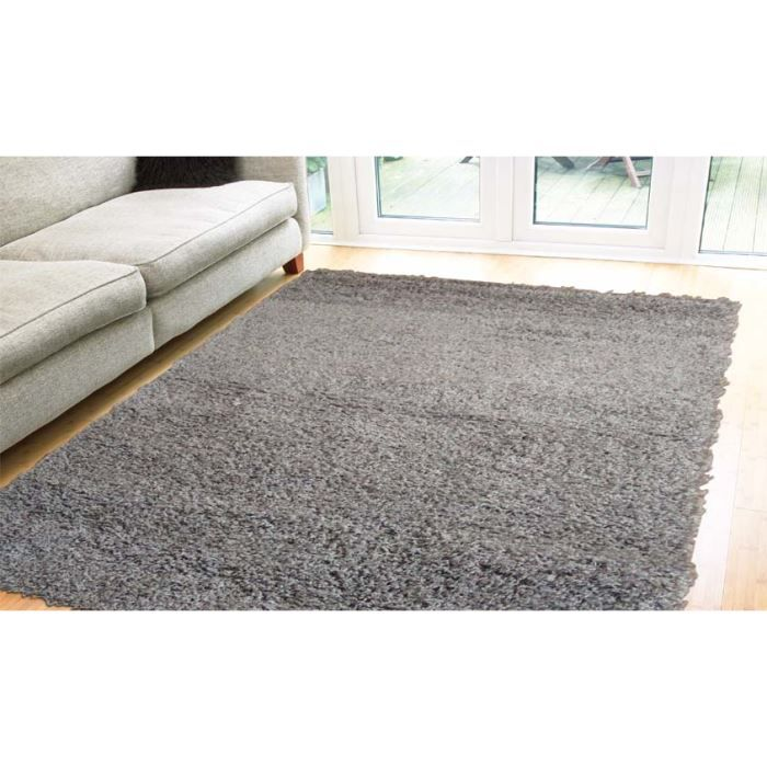 tapis shaggy pas cher gris domino 2222 rond achat vente tapis cdiscount. Black Bedroom Furniture Sets. Home Design Ideas