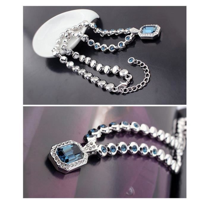 Womens Valentines Collection : Crystal Elets Elegant Platinum Plated Stunning Necklace For Weddi LR5R7