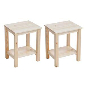 CHEVET Homy Casa Lot de 2 Tables de Chevet - Bois beige -