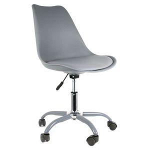 CHAISE Chaise de bureau à roulettes design Kiruna - Gris