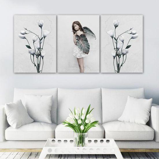 Fille De Modèle Européen Et Peinture De Toile De Fleur Pour