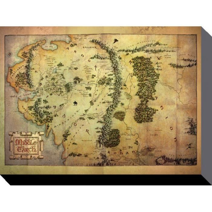 le hobbit poster reproduction sur toile tendue sur ch ssis carte de la terre du milieu 60 x. Black Bedroom Furniture Sets. Home Design Ideas