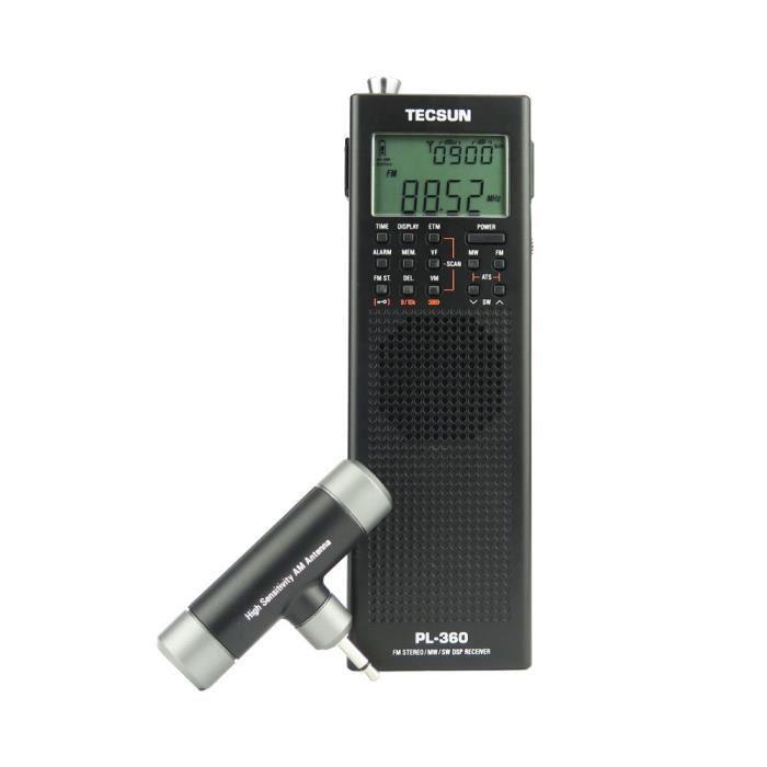 Radios portables,Radio de Campus de charge de semi conducteurs stéréo de poche pour personnes âgées Tecsun PL 360 - Type Black