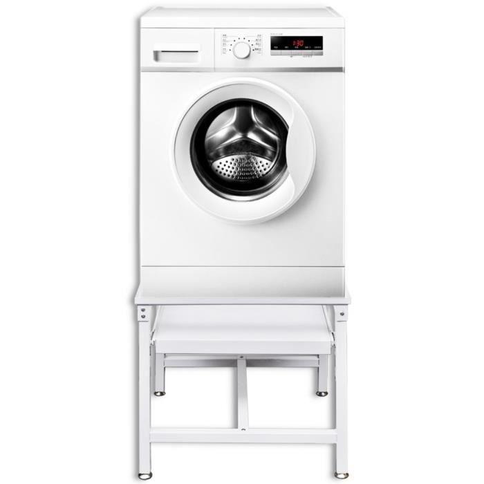 Accessoires pour lave-linge et seche-linge Socle avec etagere coulissante pour la machine a laver blanc