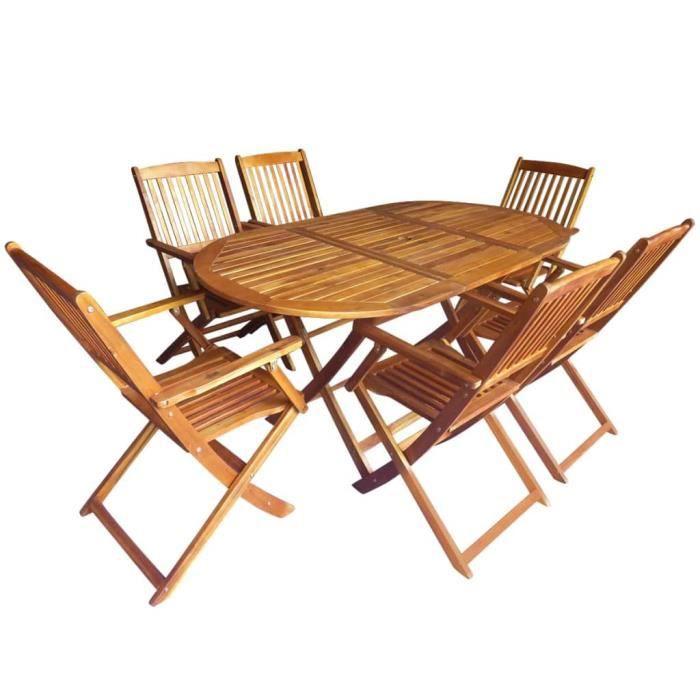 7 pcs Mobilier d'extérieur Bois d'acacia massif - 1 table ovale et 6 chaises