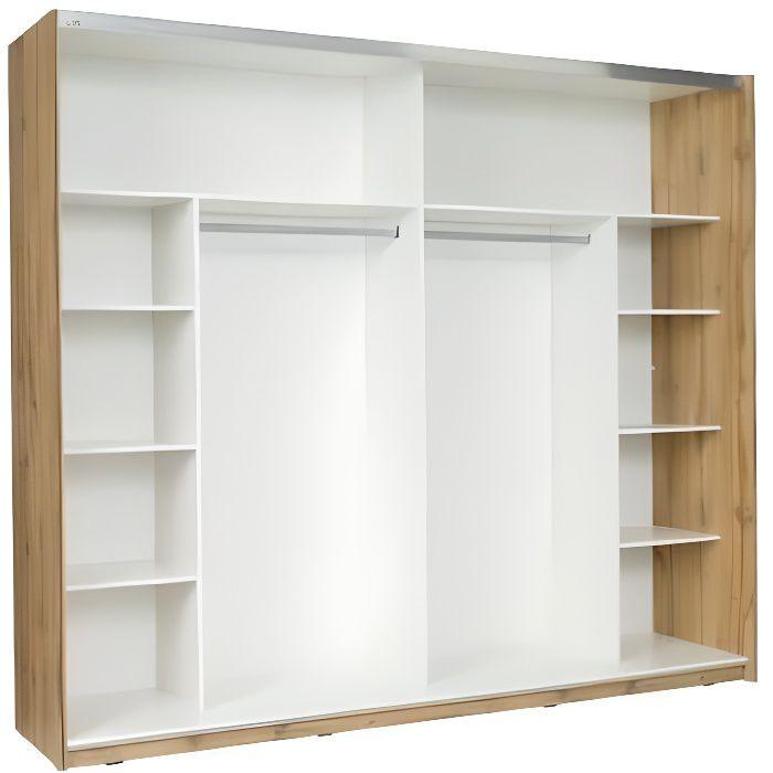 PRICE FACTORY Armoire, garde robe WOOD deux portes coulissantes 250 cm. Coloris chêne et blanc laqué. Meuble pour chambre à coucher