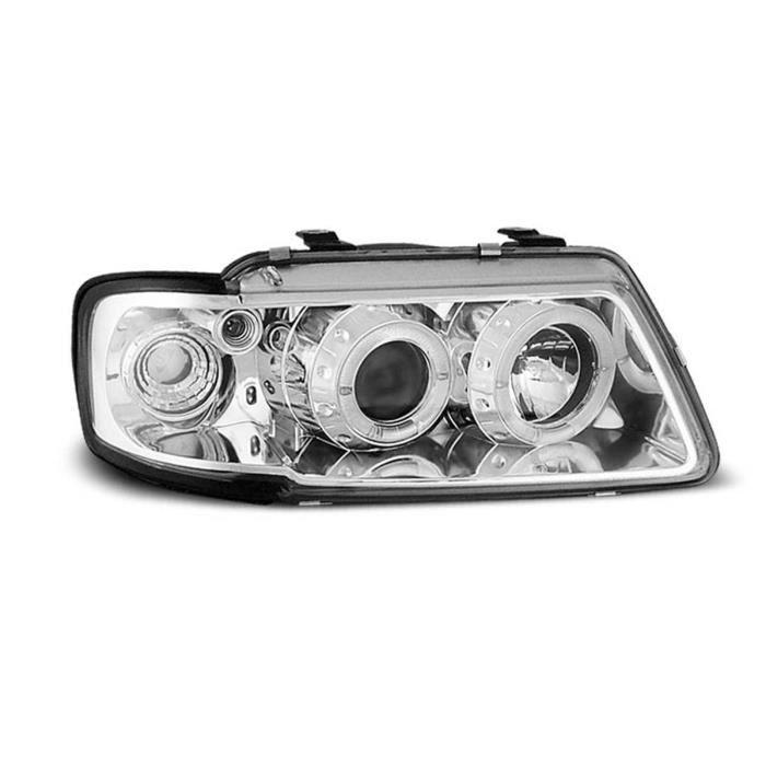 Paire de feux phares Audi A3 8L 96-00 Angel eyes chrome