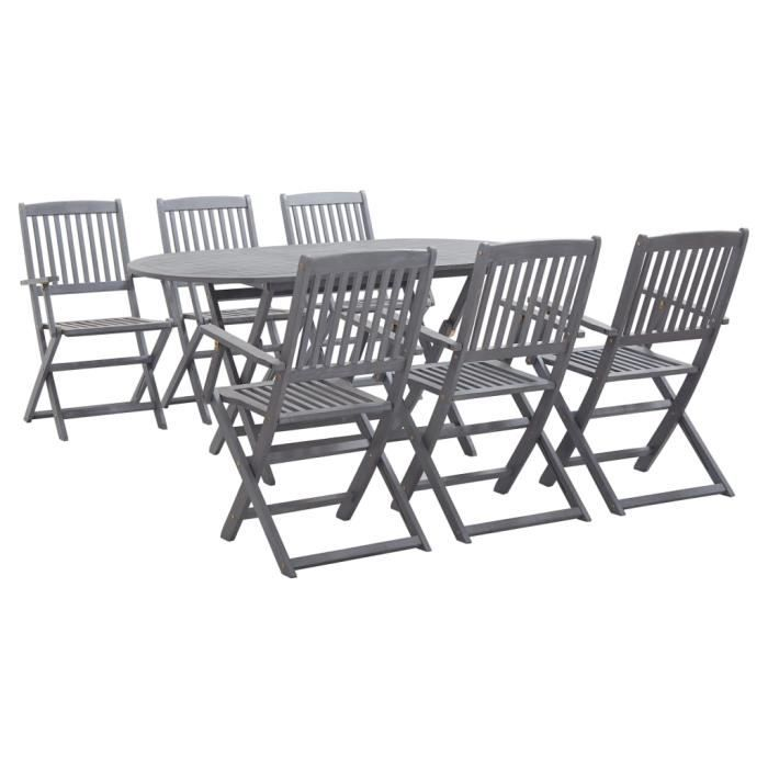 Mobilier à dîner de jardin 7 pcs - Ensemble table à manger de 6 à 8 personnes + 6 chaises Bois d'acacia massif Gris
