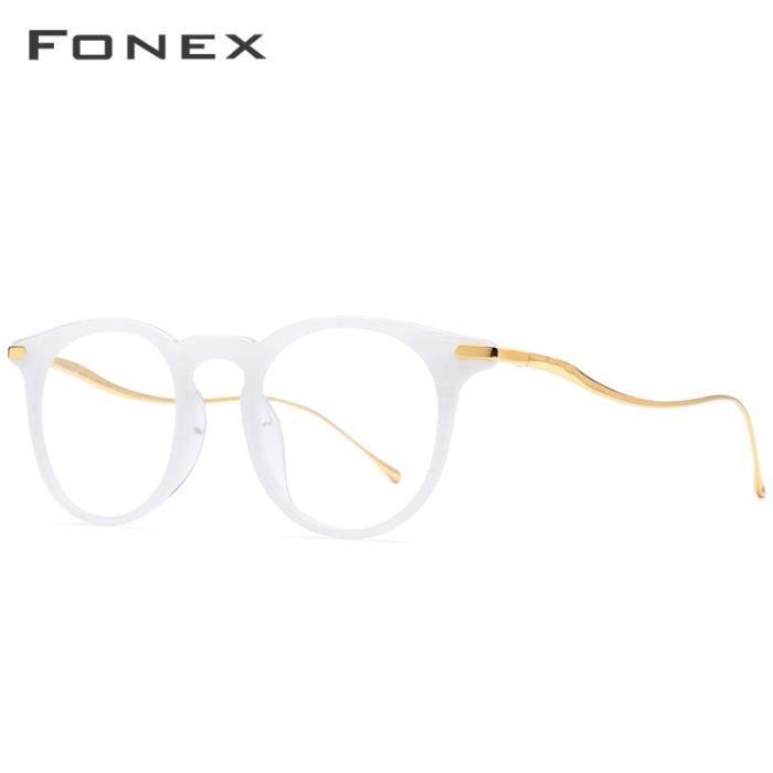 Montures de Lunettes de vue,FONEX B lunettes optiques en acétate de titane Monture hommes Vintage Prescription - Type WHITE