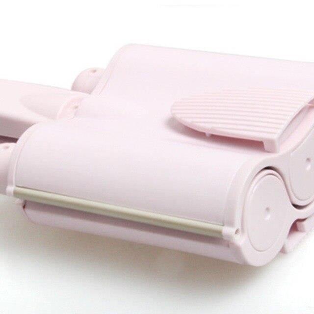 GY2361 Barre à friser tête de rouleau d'oeuf ondulation de l'eau barre à friser à trois barres*Pink 32mm
