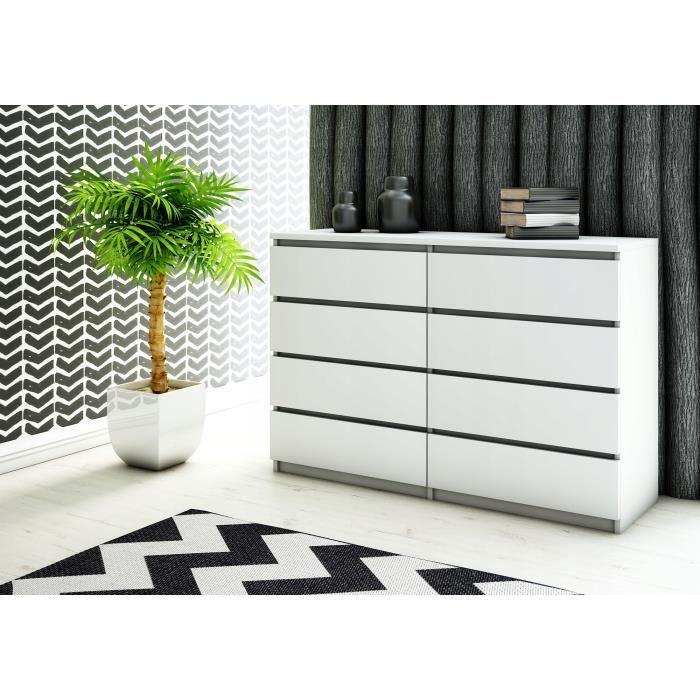 SVEA - Grande commode de chambre 8 tiroirs - 119x100x35cm - Meuble de rangement - Style scandinave - Blanc