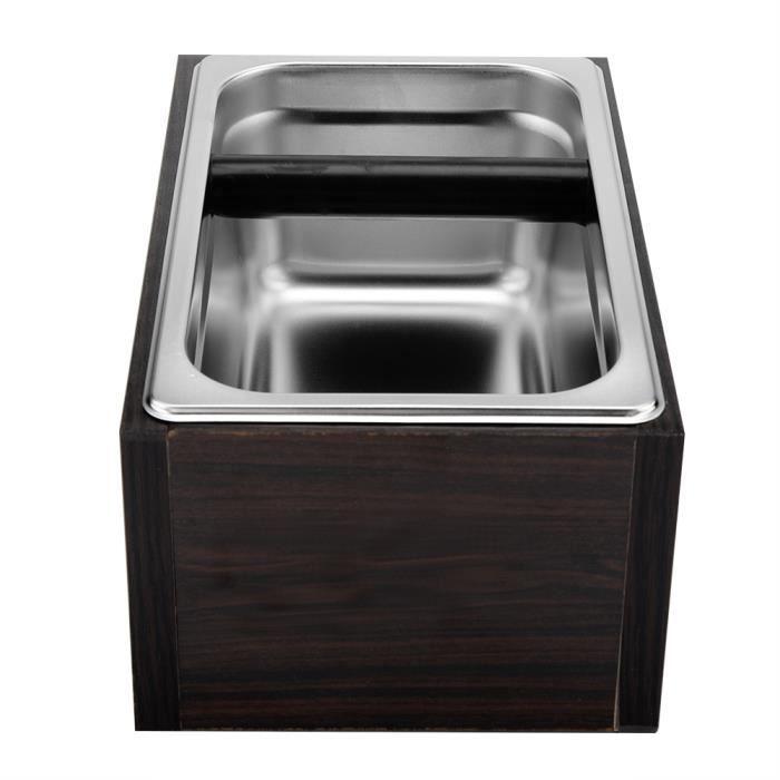 Boîte de seau de récipient moulu de café d'acier inoxydable avec la base en bois pour l'usage de café -JIL